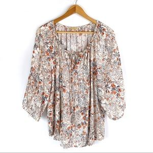 Lucy & Laurel | 1X | Boho Floral Blouse with Tie